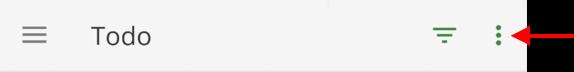 Menu flutuante da barra de ferramentas do app de lista de tarefas Todo