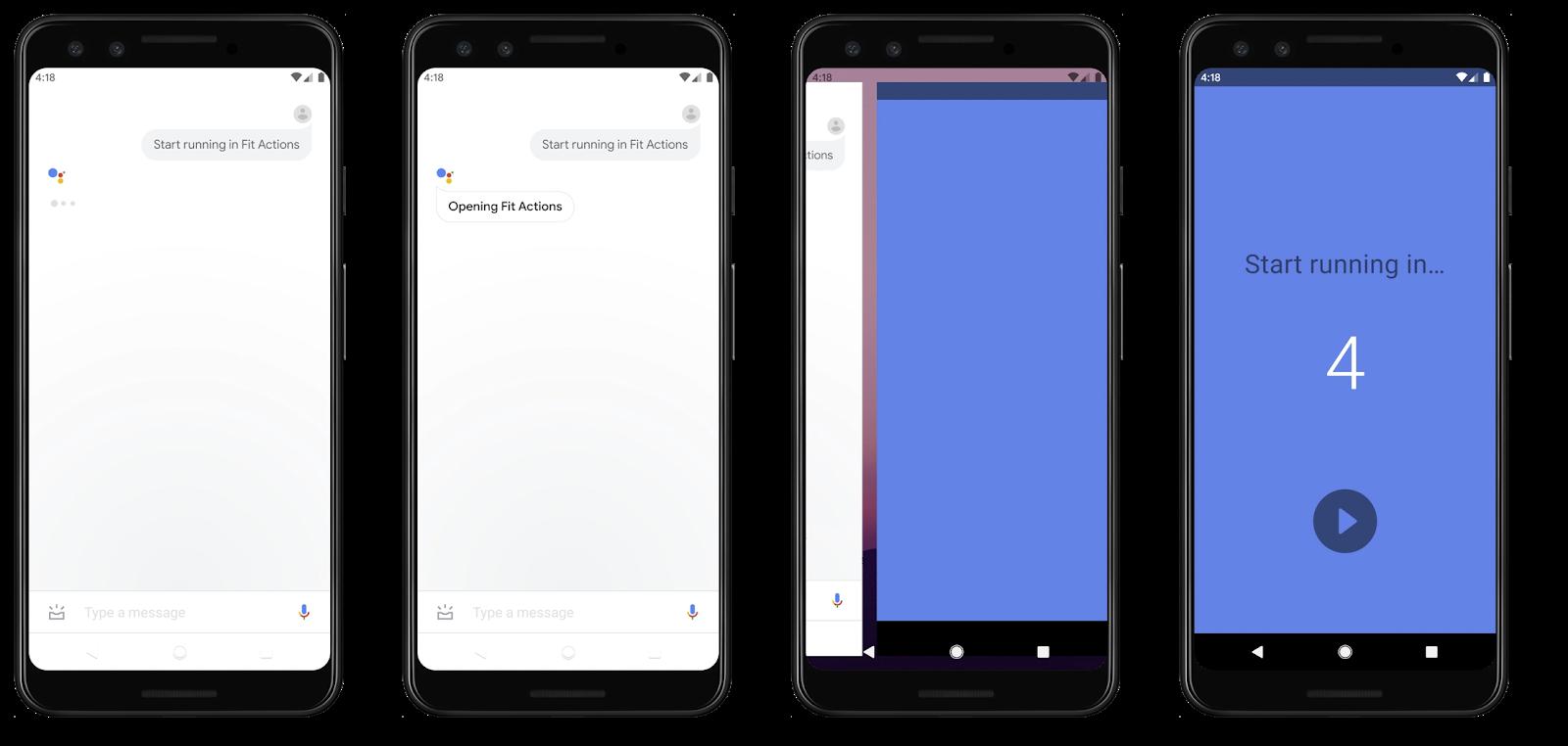 Cuatro pantallas progresivas en las que AsistentedeGoogle inicia un registro de carrera en una app