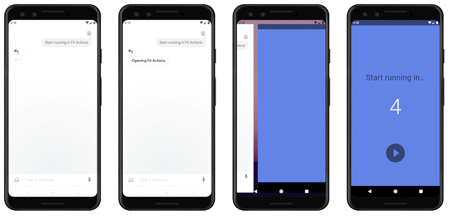 Four progressive screens where the Google Assistant starts a run tracker in an app.