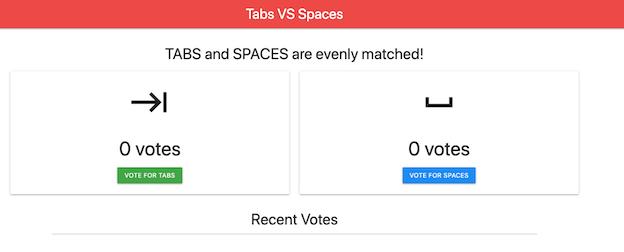 Captura de pantalla de la aplicación de votación de comparación entre pestañas y espacios