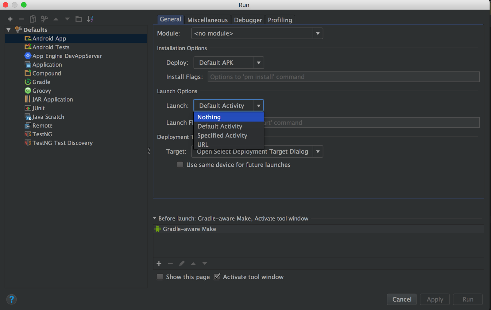 Drop down to configure run settings to launch a service using Android Studio.