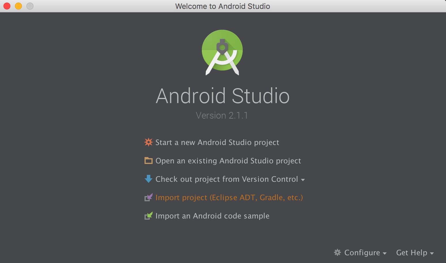 The welcome screen for Android Studio.