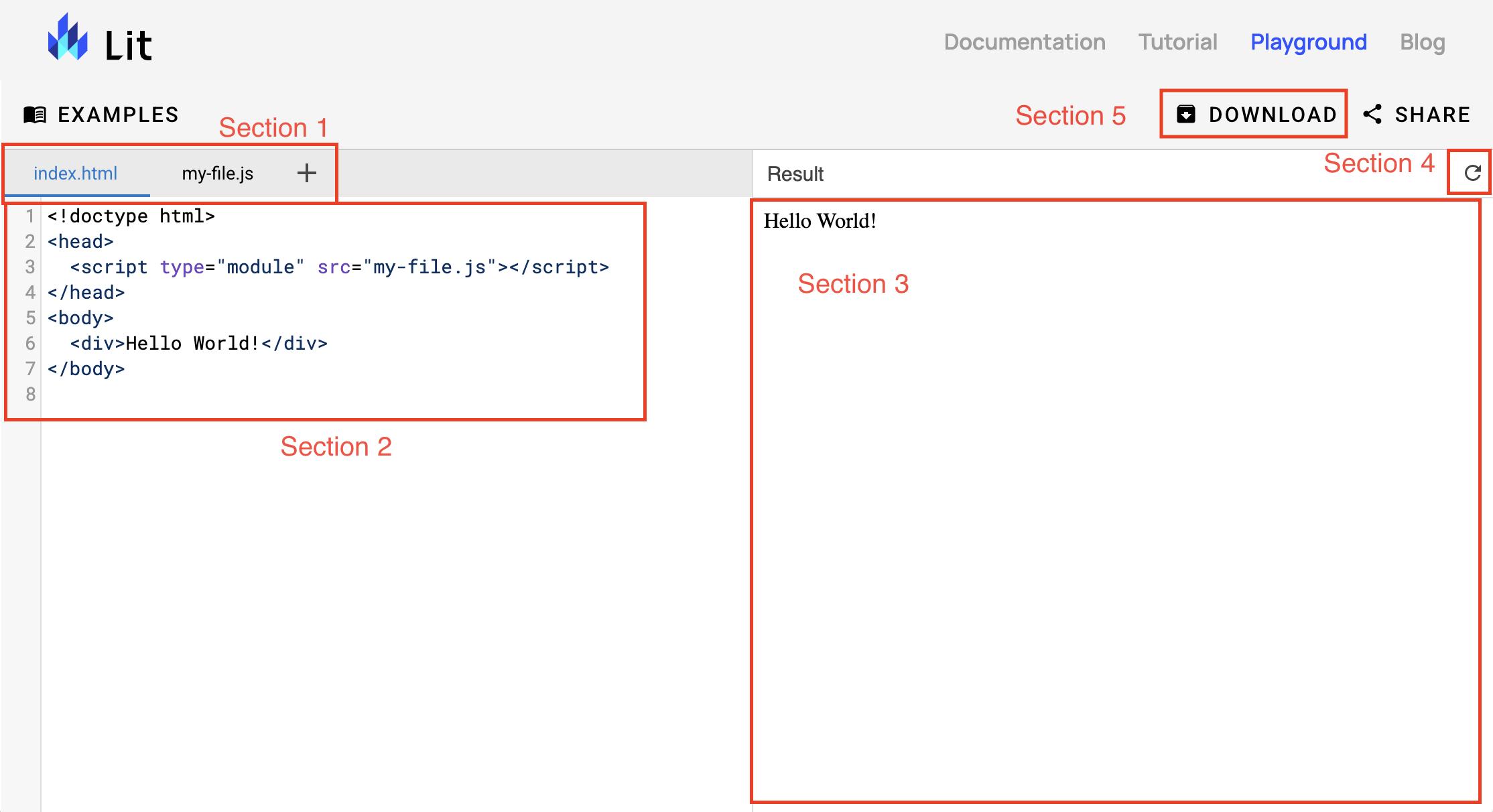 文件选择器标签页栏标为 Section 1,代码编辑部分标为 Section 2,输出预览标为 Section 3,预览重新加载按钮标为 Section 4