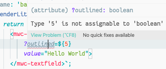 IDE で型チェックにより数値ではなくブール値が誤って設定されていることが検出された場面のスクリーンショット