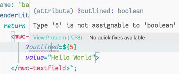 Captura de tela de um ambiente de desenvolvimento integrado mostrando uma verificação de tipo incorreta para definir o booleano indicado como um número.