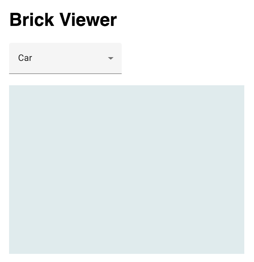 A brick-viewer element displaying a rendered, but empty, scene.