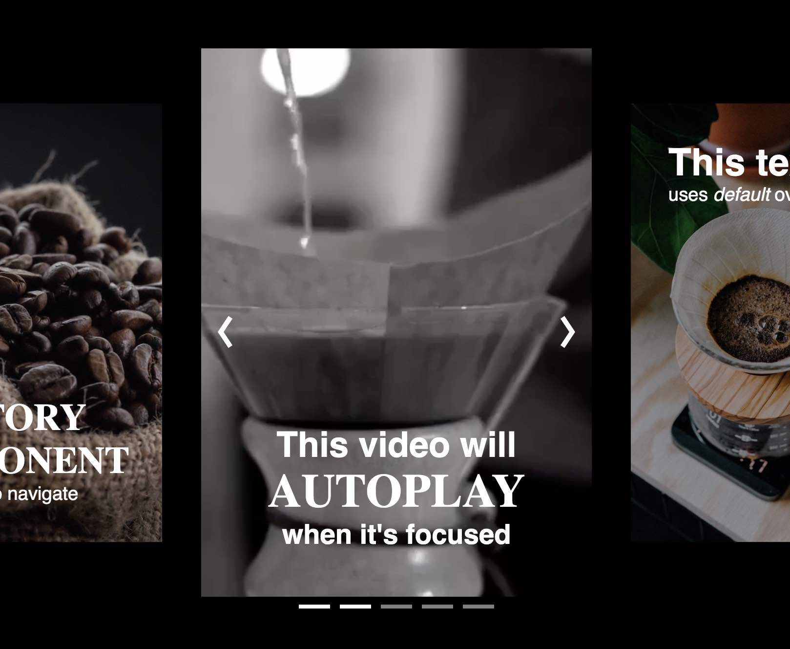 A completed story-viewer component displaying three images of coffee