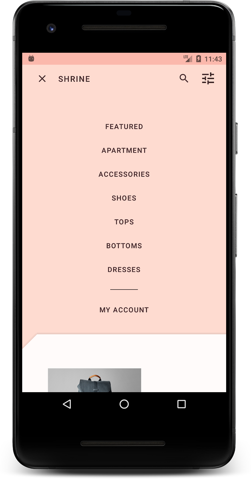 This is the third of 4 codelabs that will guide you through building an app  called Shrine, an e-commerce app that sells clothing and home goods.