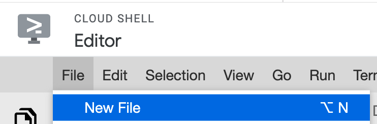 New file in Cloud Shell