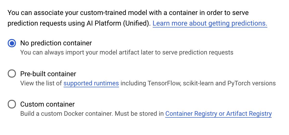 No prediction container
