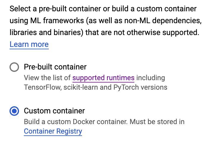 Custom container option